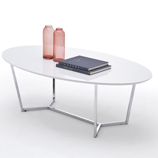 Banham Coffee Table Oval In High Gloss White With Chrome Legs