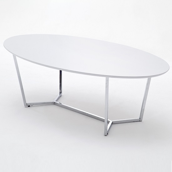 Banham Coffee Table Oval In High Gloss White With Chrome Legs_2