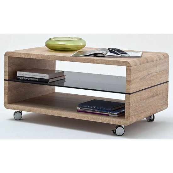 Franca Coffee Table In Oak With Grey Glass Shelf And Wheels