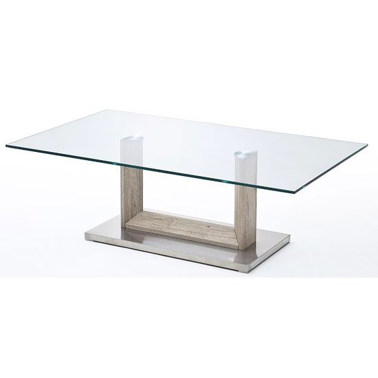 Bridget Glass Coffee Table With Metal Base