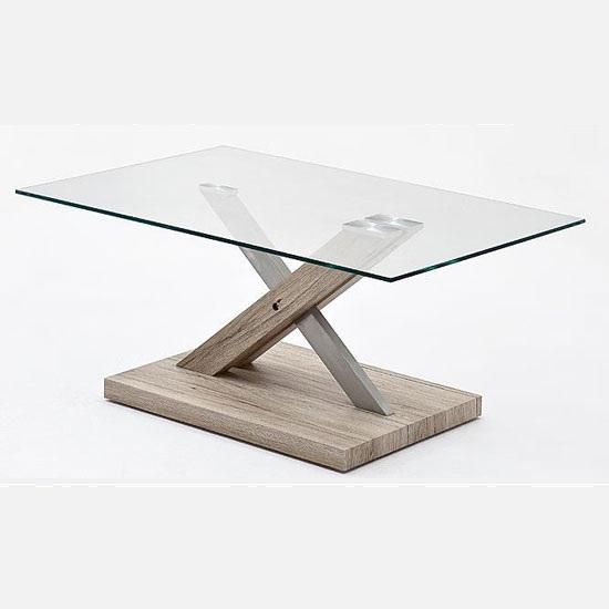 Tilda Glass Coffee Table With Oak Base