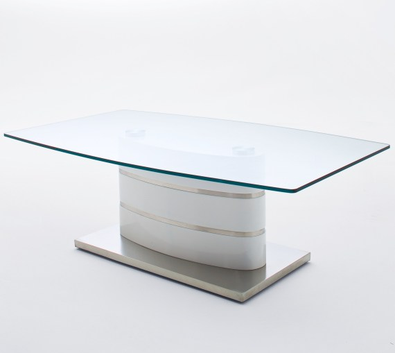 Beda High Gloss White Coffee Table With Glass Top