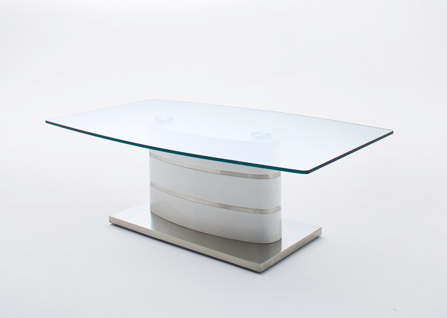 Kira Coffee Table High Gloss White With Wheels