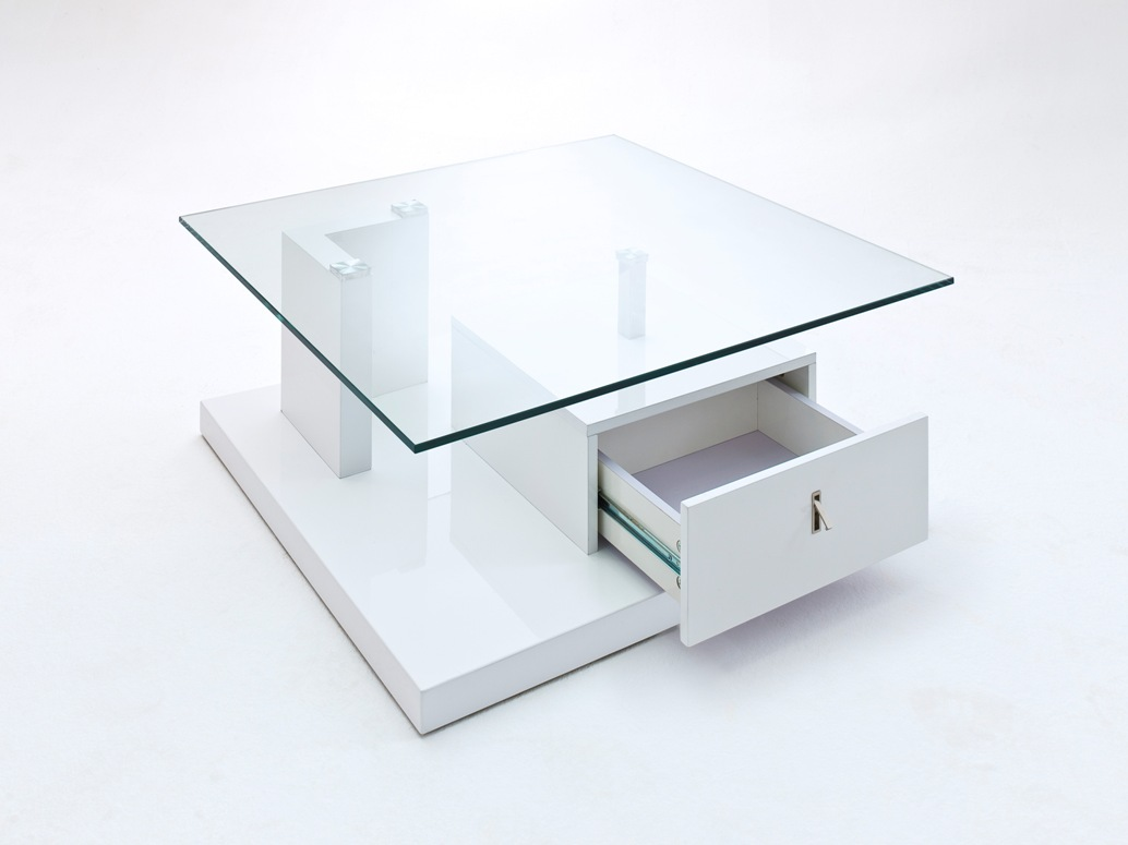 Viola High Gloss White Coffee Table With Glass Top And Drawe