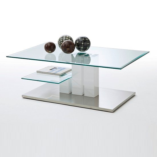 Maldon Coffee Table In Clear Glass With Stainless Steel