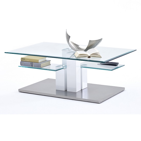 Gretton Coffee Table In Clear Glass With Stainless Steel Base