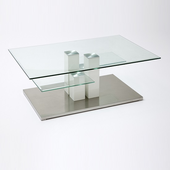 Gretton Coffee Table In Clear Glass With Stainless Steel Base_2
