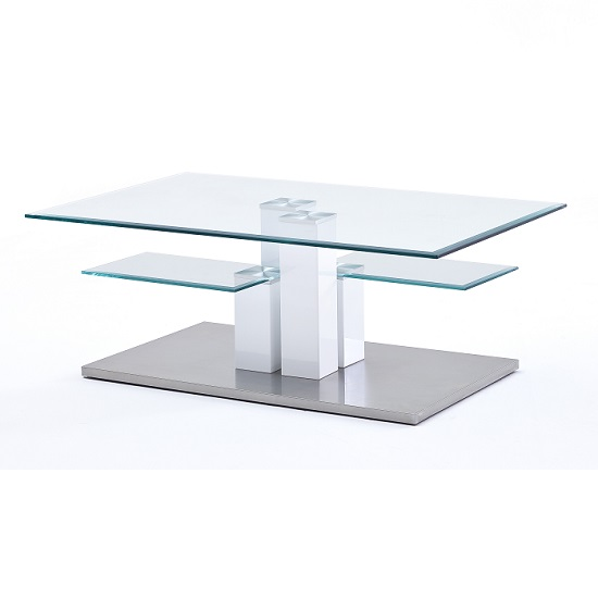 Gretton Coffee Table In Clear Glass With Stainless Steel Base_3
