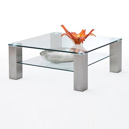 Aston Glass Coffee Table Square In Clear With Metal Legs