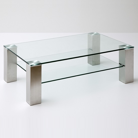 Hemsby Glass Coffee Table Rectangular In Clear With Metal Legs_2