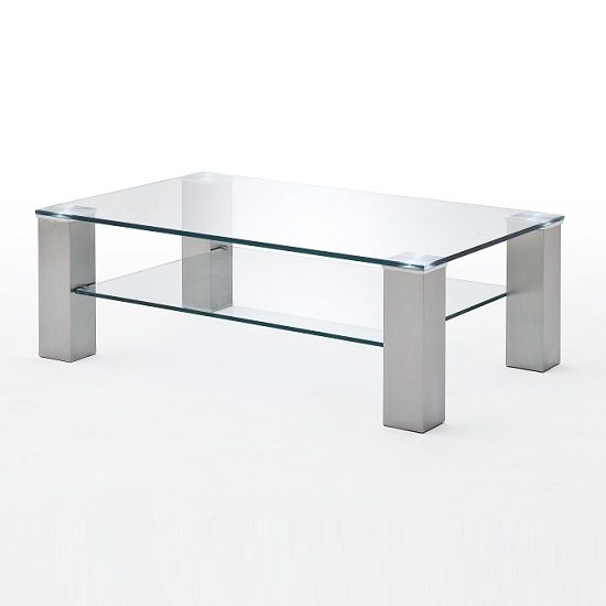 Hemsby Glass Coffee Table Rectangular In Clear With Metal Legs_3