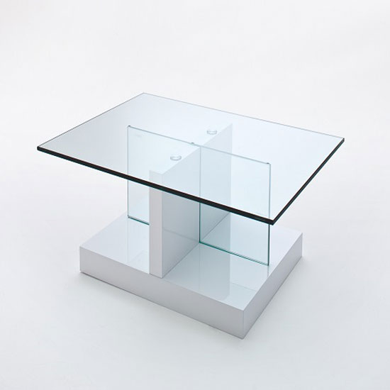 Lea High Gloss White Coffee Table With Glass Top And Gloss Base