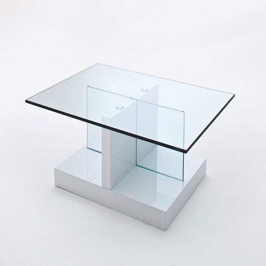 High Gloss White Coffee Table Round Angle Black Glass Top: Lea High Gloss White Coffee Table With Glass Top And Gloss