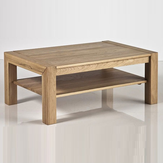 Pierre Coffee Table In Bianco Oak With Undershelf