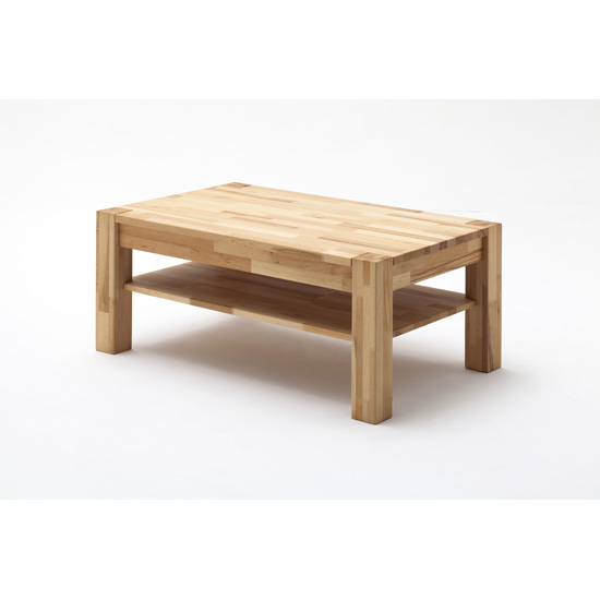 Peter Oak Rectangle Coffee Table With Undershelf