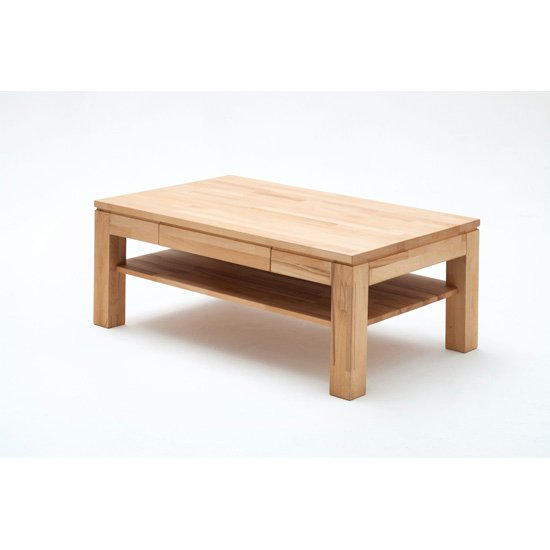 Julien Oak Rectangle Coffee Table With 1 Drawer And Shelf