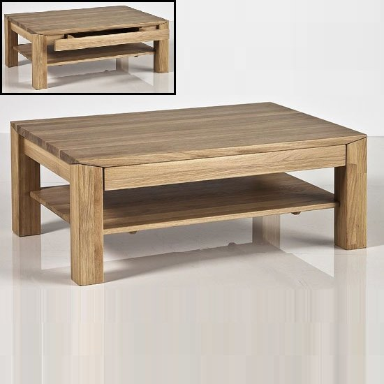 Messina Coffee Table In Bianco Oak With Undershelf And Drawer