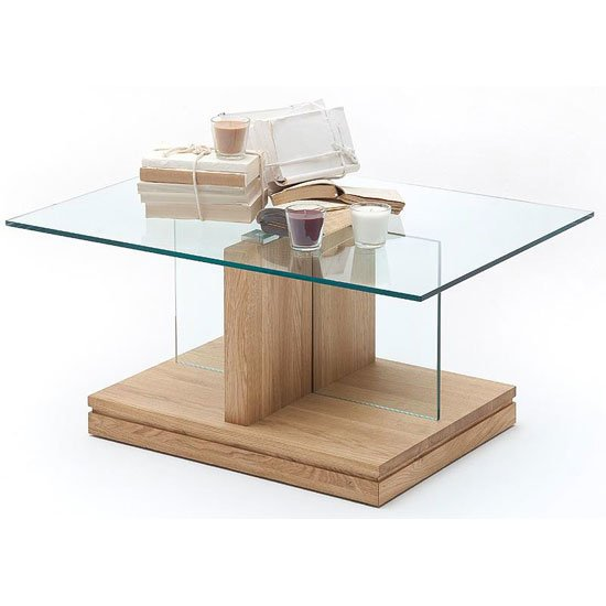 Lennart Glass Coffee Table And Bianco Oak Base