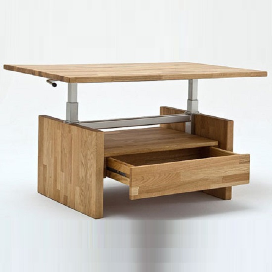 Titus Coffee Table In Knotty Oak With Lift Function And 1 Drawer_2