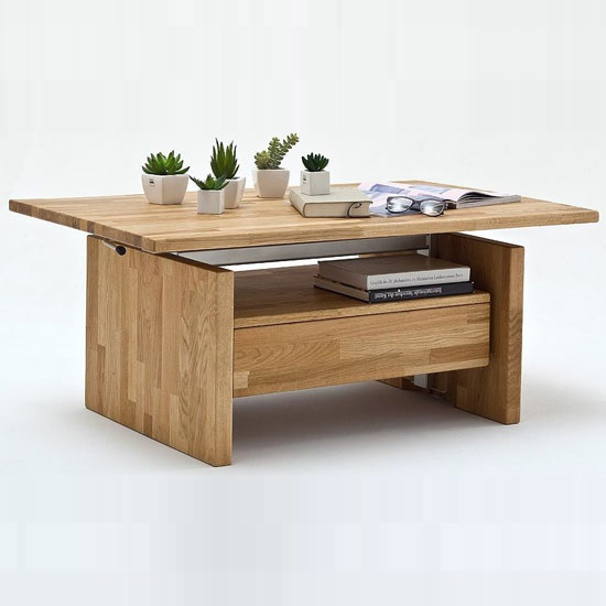 Titus Coffee Table In Sawn Oak With Lift Function And 1 Drawer