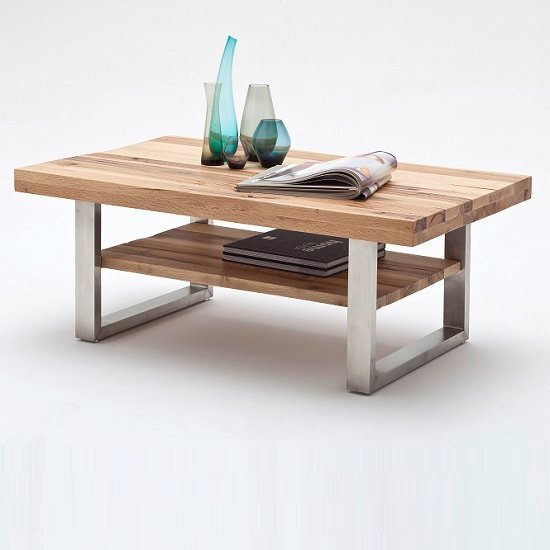 Clapton Wooden Coffee Table In Wild Oak And Stainless Steel