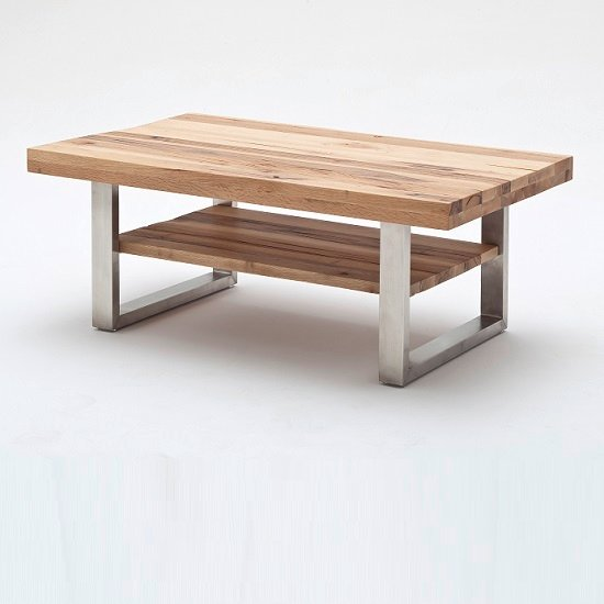 Clapton Wooden Coffee Table In Wild Oak And Stainless Steel_2