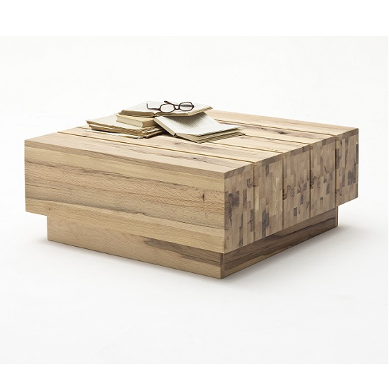Montrose Wooden Coffee Table Square In Wild Oak With Rollers