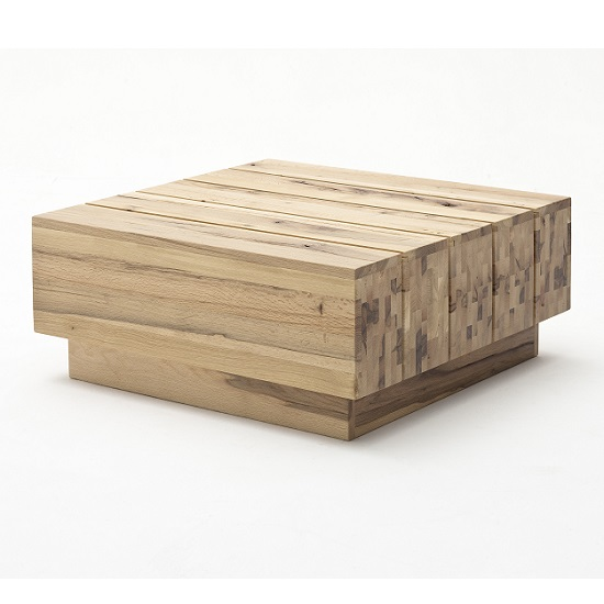Montrose Wooden Coffee Table Square In Wild Oak With Rollers_2
