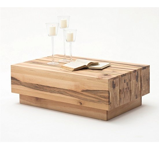 Montrose Wooden Coffee Table Rectangular In Wild Oak And Rollers