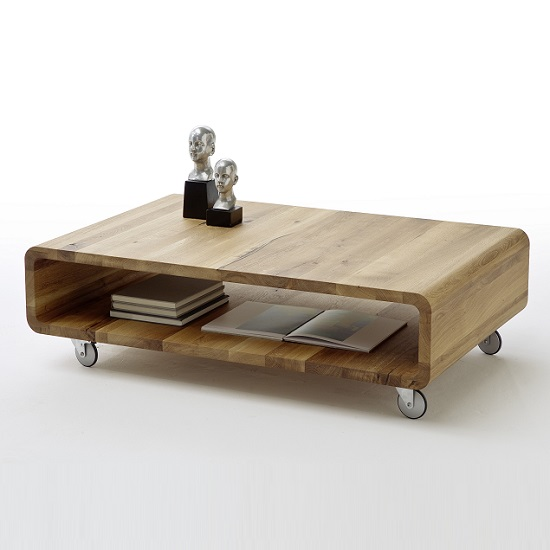 Witham Wooden Coffee Table Rectangular In Knotty Oak And Rollers