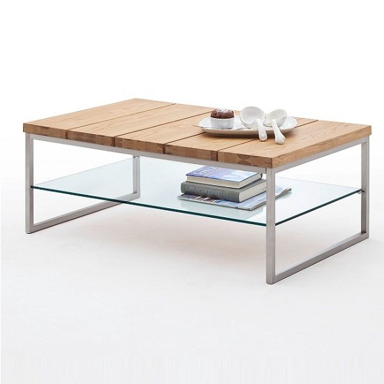 Milton Coffee Table In Knotty Oak With Clear Glass Undershelf