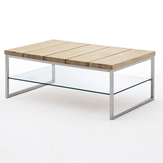 Milton Coffee Table In Knotty Oak With Clear Glass Undershelf_2