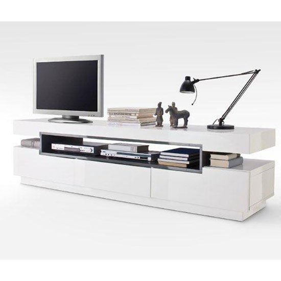 Laura White High Gloss Finish LCD TV Stand With 3 Drawer
