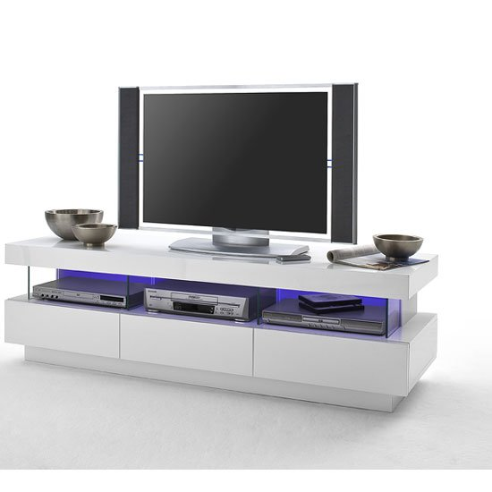 Laurisso High Gloss Lowboard Tv Unit With Multi Lights