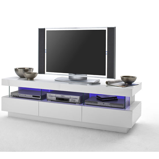 laurisso high gloss lowboard tv unit with multi lights. Black Bedroom Furniture Sets. Home Design Ideas