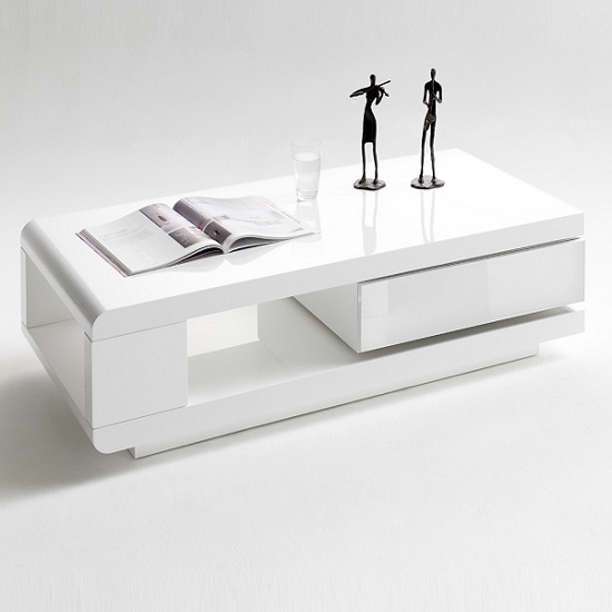 Annika White Gloss Coffee Table: IDA Coffee Table In White High Gloss With Rotating Drawer