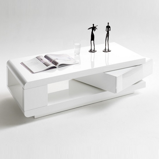 IDA Coffee Table In White High Gloss With Rotating Drawer_2