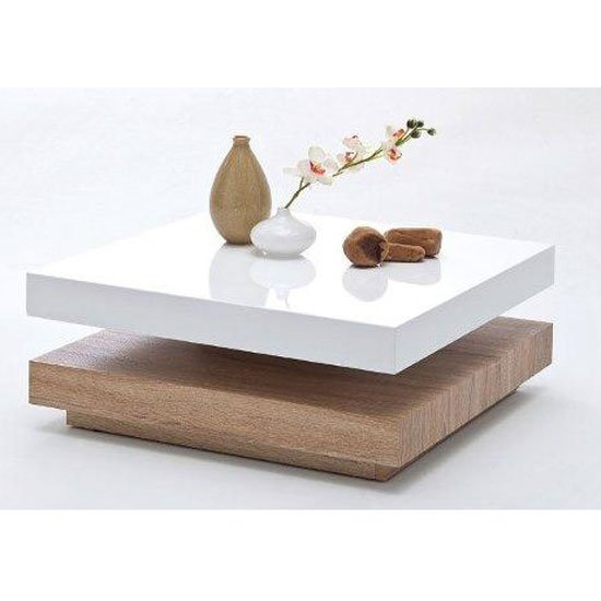 View Hugo square coffee table high gloss white and oak base