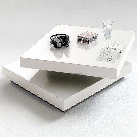 View Hugo square coffee table high gloss white with twist top
