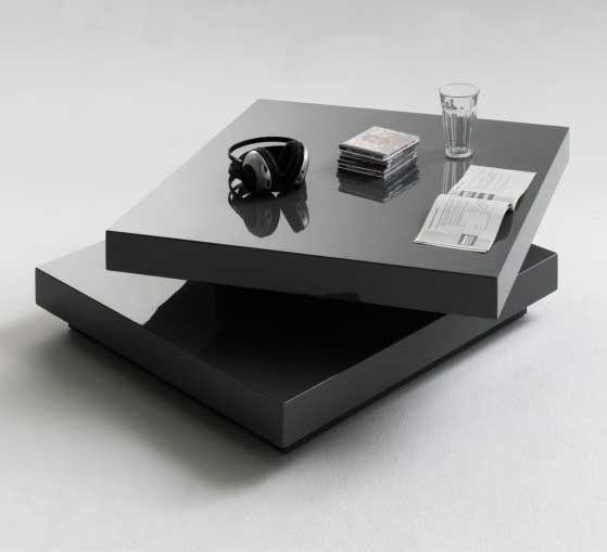 View Hugo square coffee table high gloss grey with twist top