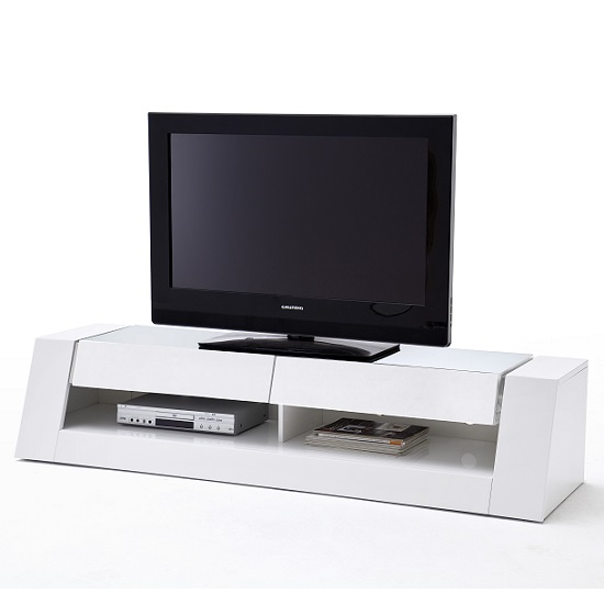 Kington LCD TV Stand In White High Gloss With 2 Drawers