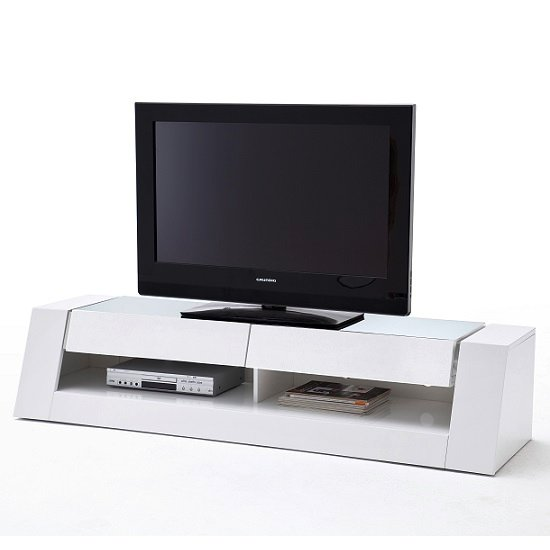 Kingston LCD TV Stand In White High Gloss With 2 Drawers