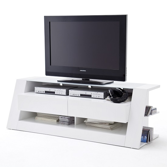 Stroud Glass LCD TV Stand In White With High Gloss And 2 Drawers