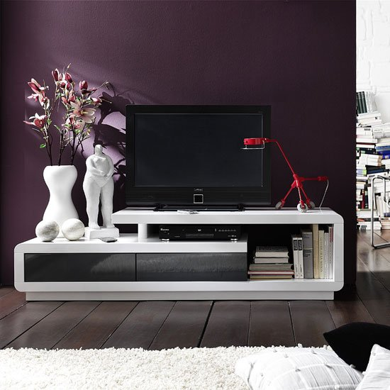 Celia High Gloss Plasma Tv Stand With 2 Drawer In White And Grey 1