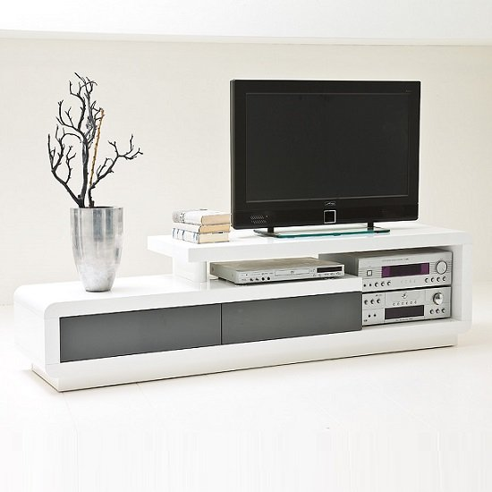 Celia High Gloss Plasma TV Stand With 2 Drawer In White And Grey_2