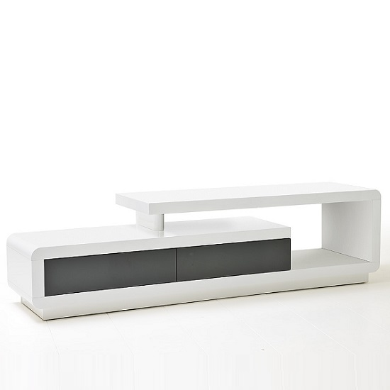 Celia High Gloss Plasma TV Stand With 2 Drawer In White And Grey_5