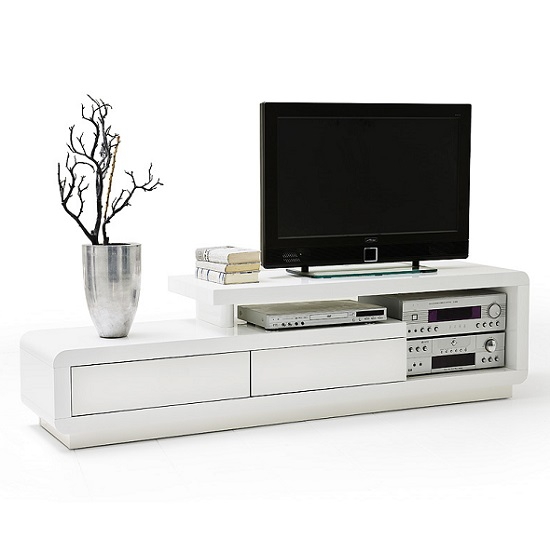 Celia High Gloss Plasma Tv Unit In White With Two Drawers_2