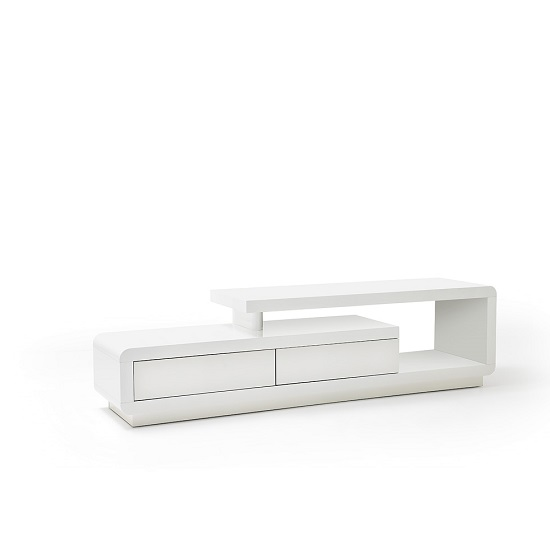 Celia High Gloss Plasma Tv Unit In White With Two Drawers_3