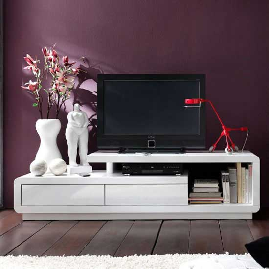 Celia High Gloss Plasma Tv Unit In White With Two Drawers_1