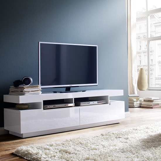 Read more about Weston lcd tv stand in white high gloss with 2 drawers